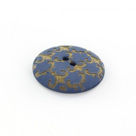 Polyester button, Ornaments - golden/blue