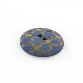 Bouton polyester Ornements Dorés Bleu