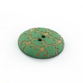 Polyester button, Ornaments - golden/green
