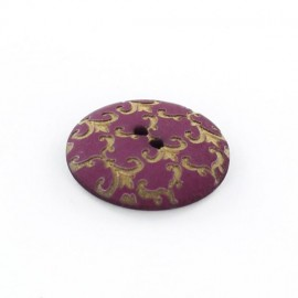 Polyester button, Ornaments - golden/purple