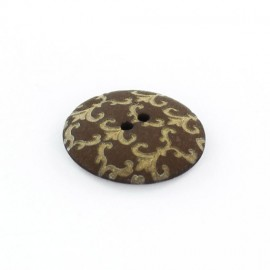 Polyester button, Ornaments - golden/chocolate