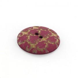 Polyester button, Ornaments - golden/fuchsia