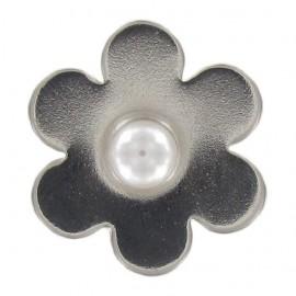 Bouton Métal Fleur Perle Blanche