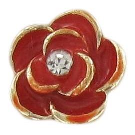 Metal Button, Rose - red