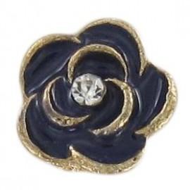 Metal Button, Rose - navy