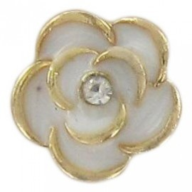 Bouton Métal Rose Blanche