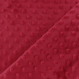 Tissu Velours minkee doux relief à pois carmin x 10cm