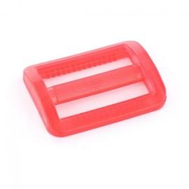 Boucle coulisse plastique transparent rouge