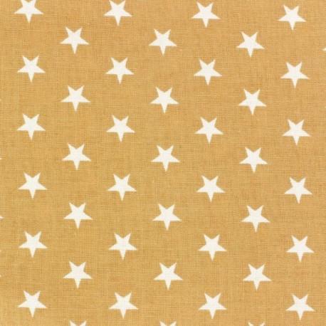 Tissu étoiles blanc/ficelle x10cm