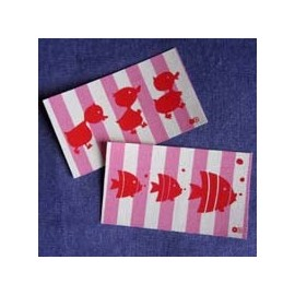 "Fusible patch ""ducks fish"" - pink"