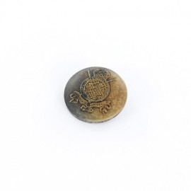 Wooden button, naval coat-of-arms - old wood-colored