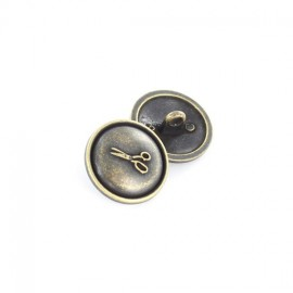 Metal button, scissors - black brass