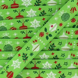 Single-sided Woven Ribbon, Merry Christmas 16mm - Green