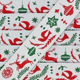 Ruban tissé simple Merry Christmas 16 mm vert