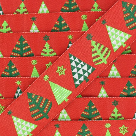 Single-sided Woven Ribbon, Merry Christmas 28mm - red