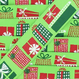 Single-sided Woven Ribbon, Merry Christmas 28mm - Green