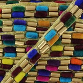 Small woven braid trimming, India tube beads duo B x 50cm - multicolored