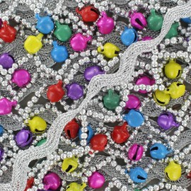 Serpentine silver ribbon, India beads and little bells x 50 cm - multicolored