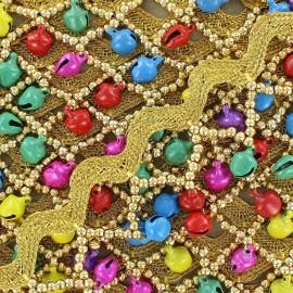 Ruban serpentine India Perles et grelots multi argent x 50cm