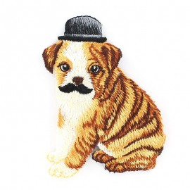 Dog with moustache, Celebrating animals iron-on applique - black/brown/white
