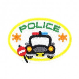Police ballon badge iron-on applique - multicolored