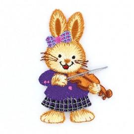 Musician rabbit, Celebrating animals iron-on applique - purple/brown