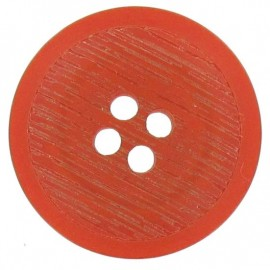Polyester button, rounded-shaped, stripped - orange