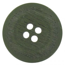 Polyester button, rounded-shaped, stripped - Khaki