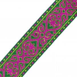 Galon jacquard Marrakech vert impérial