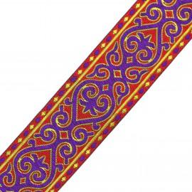 Jacquard braid trimming ribbon, Marrakech - red