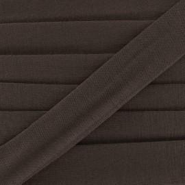 Bias binding, jersey - brown