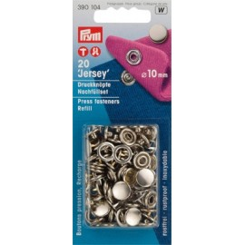 1 pack of 20 jersey press fasteners refill 10 mm - silver/golden