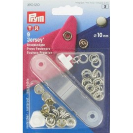 1 pack of 9 Jersey press fasteners 10 mm with tool - nickel-plated