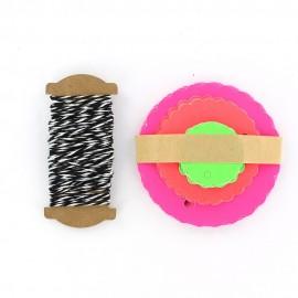 Etiquettes cadeaux rosaces Fluo Multicolore