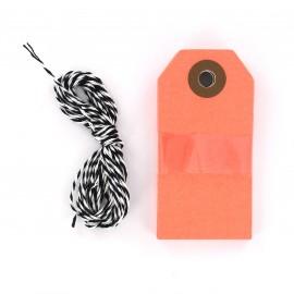 Etiquettes cadeaux orange fluo