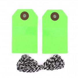 Grandes Etiquettes cadeaux vertes fluo