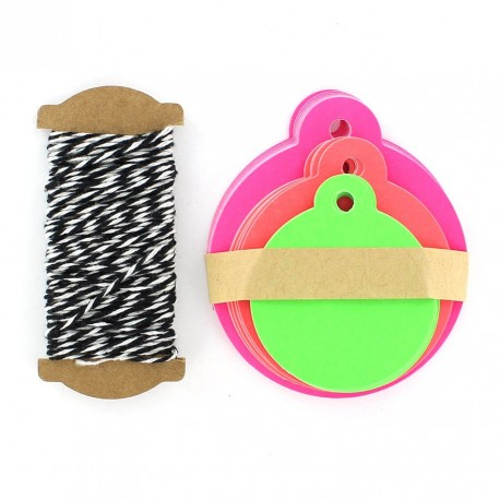 Gift tag, round-shaped - fluorescent-multicolored