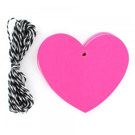 Gift tag heart - fluorescent pink