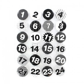 Badges for Advent Calendar 25 mm, rounded-shaped - black and white