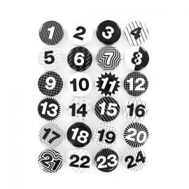Boutons pour calendrier de l'avent Noir & Blanc 25 mm