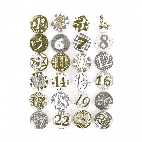 Badges for Advent Calendar 25 mm, rounded-shaped - golden/silver