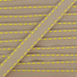 Grosgrain aspect stitched-edge sand braid trimming, double-sided - fluorescent yellow