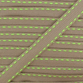 Grosgrain aspect stitched-edge sand braid trimming, double-sided - fluorescent green