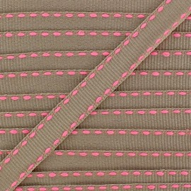 Grosgrain aspect stitched-edge sand braid trimming, double-sided - fluorescent pink