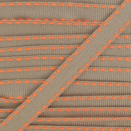 Grosgrain aspect stitched-edge sand braid trimming, double-sided - fluorescent orange
