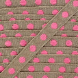 Grosgrain aspect braid trimming ribbon, with neon pink polka dots - sand