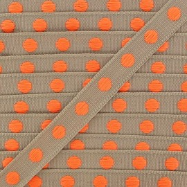 Grosgrain aspect braid trimming ribbon, with neon orange polka dots - sand