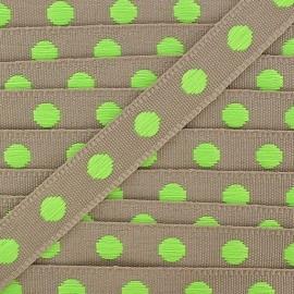 Galon aspect gros grain sable à pois néon vert