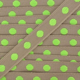 Grosgrain aspect braid trimming ribbon, with neon green polka dots - sand