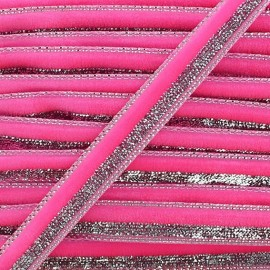 Lurex braid trimming, disco 10mm - fluorescent pink